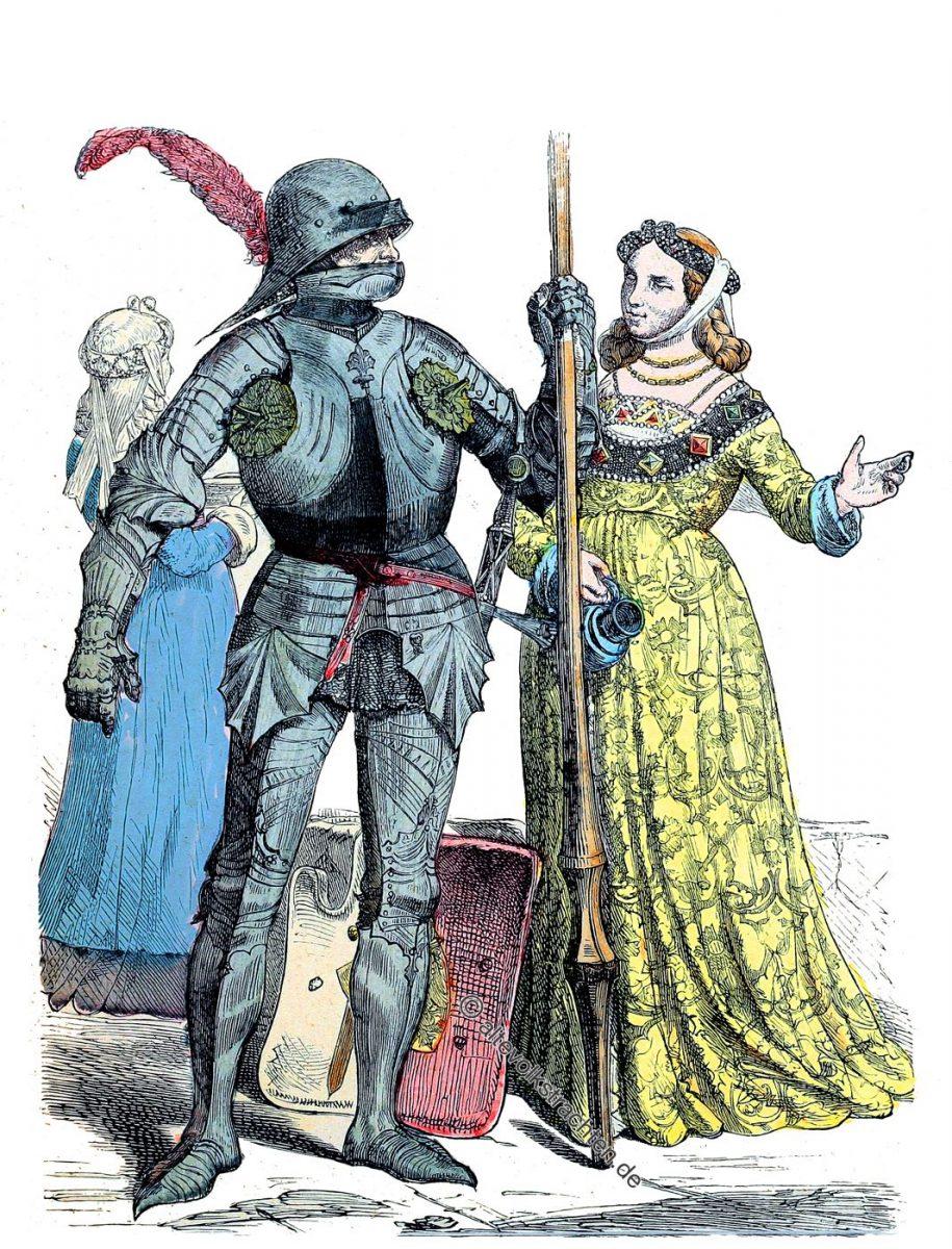 Deutscher Ritter und Edelfrau um 1450. Mode des Mittelalters. Münchener Bilderbogen.