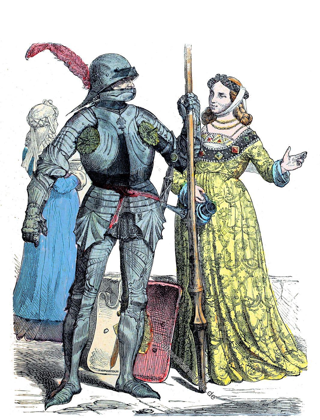 Ritter, Edelfrau, Gewandung, Kostüme, Mittelalter, Mode, Münchener Bilderbogen
