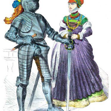 Deutscher Ritter und Edelfrau um 1580.