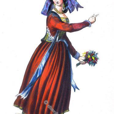 Frau aus Nettuno, Italien um 1840.