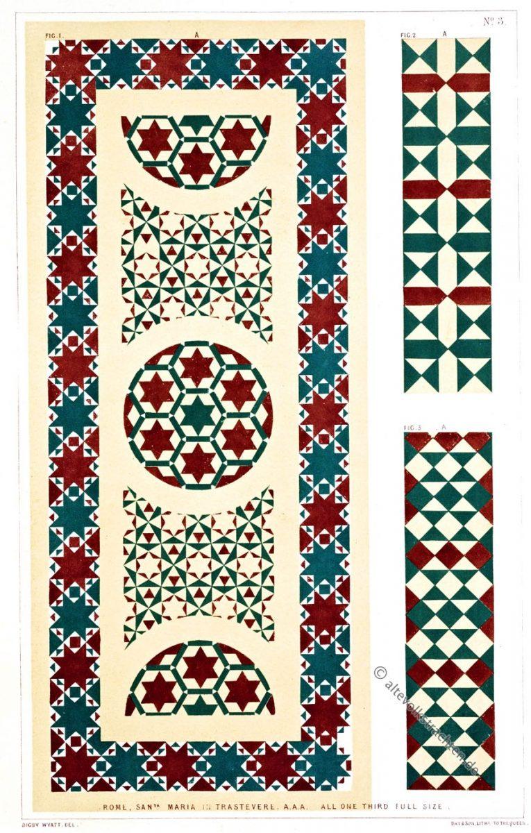 Opus Alexandrinum in der Kirche Santa Maria in Trastevere, Rom. Beispiele des geometrischen Mosaiks des Mittelalters.