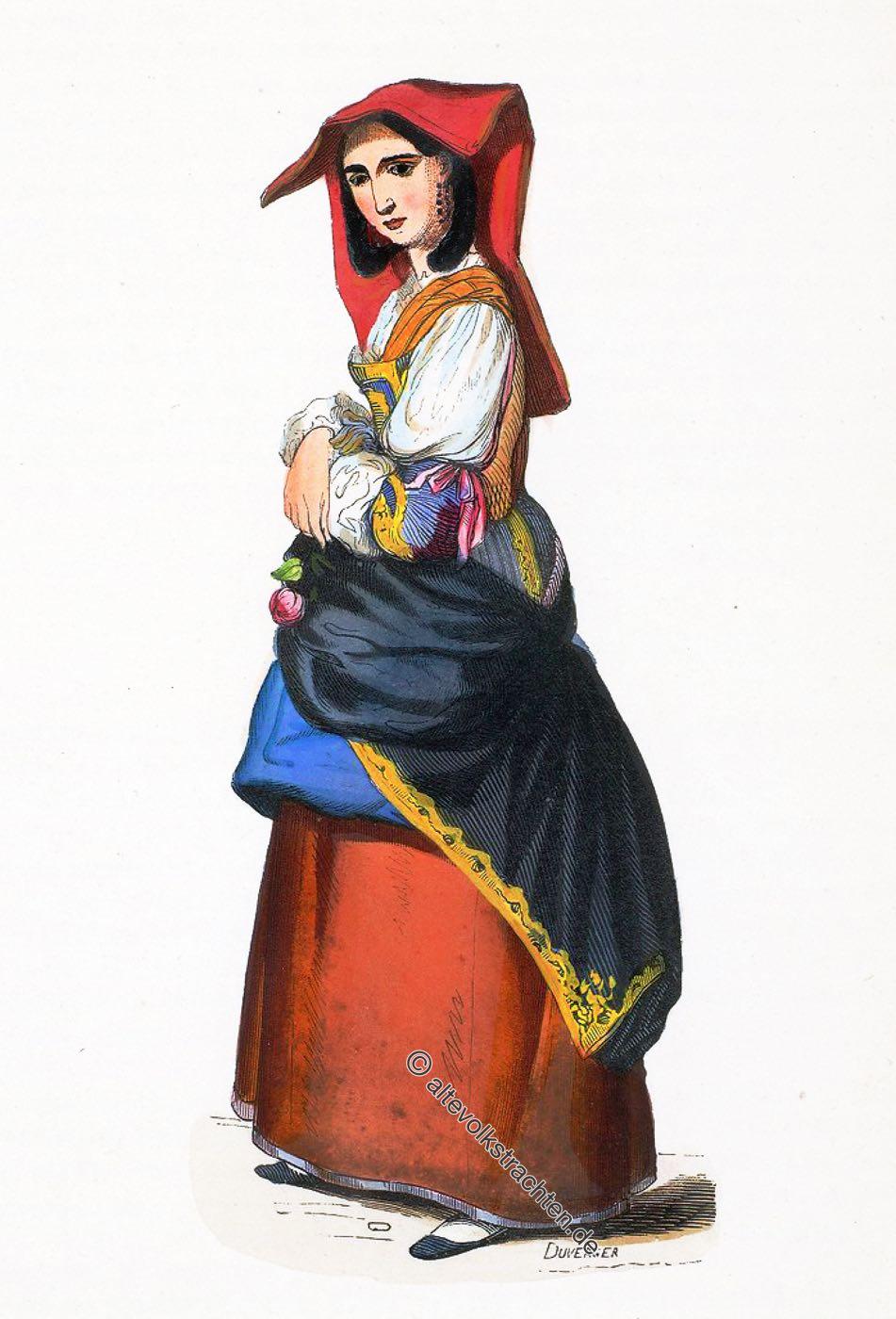 Costume, Kostüm, Salerno, Italien, Süditalien, Trachten, Nationaltracht, Auguste Wahlen,