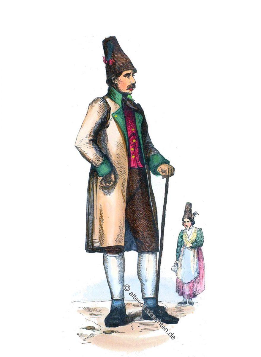 Homme et Femme du Schliersee. Bavière. - Mann und Frau aus Schliersee, Bayern 1840.