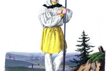 Schwefelhüttenarbeiter, Erzgebirge, Paradekleidung, Paradetracht, Freiberg, Sachsen, Trachten, Bergarbeiter, Bergmann, Hüttenmann,