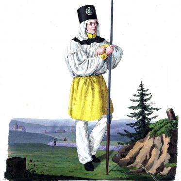 Schwefelhüttenarbeiter in Paradekleidung. Sachsen 1821.