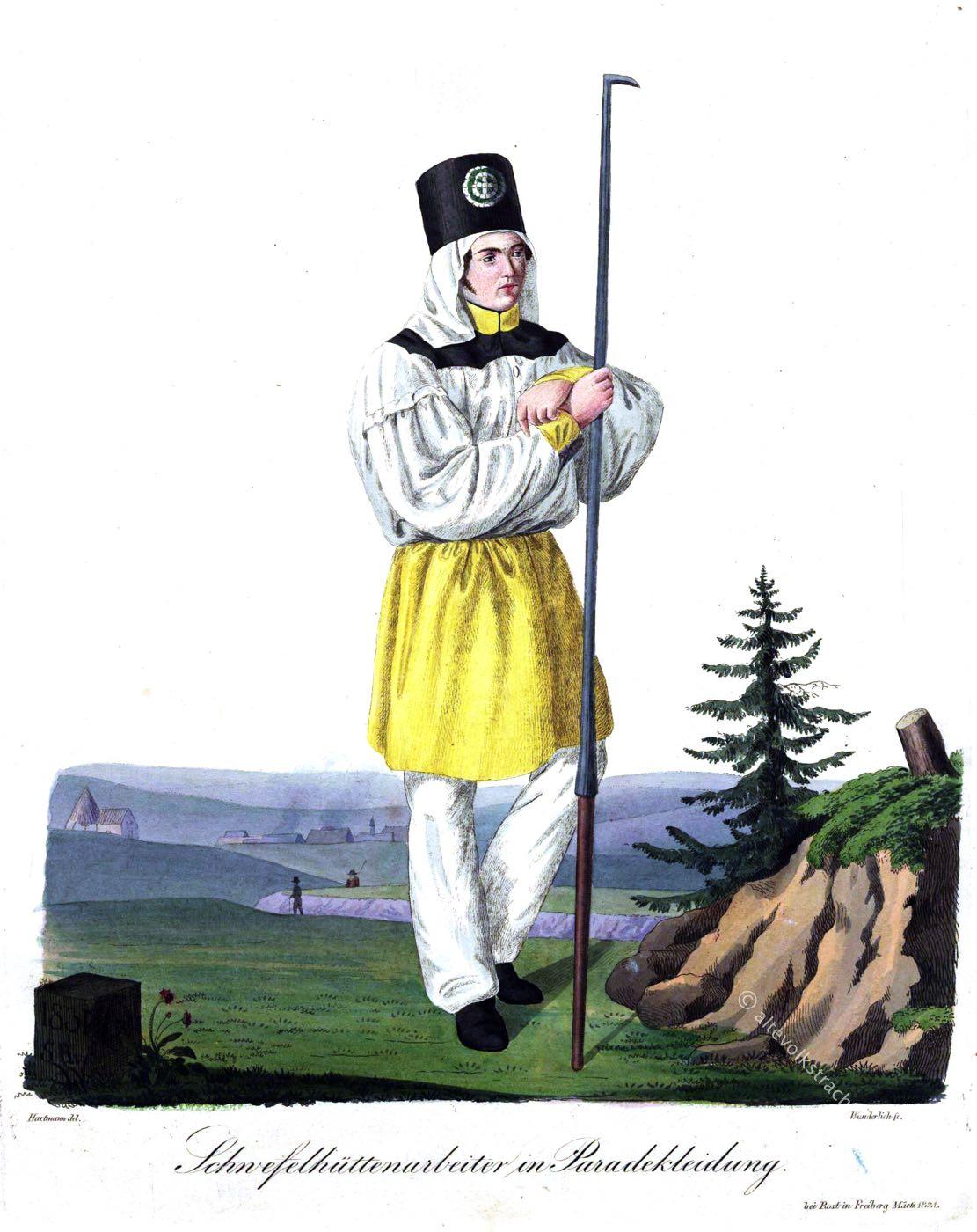 Schwefelhüttenarbeiter, Paradekleidung, Paradetracht, Freiberg, Sachsen, Trachten, Bergarbeiter, Bergmann, Hüttenmann,