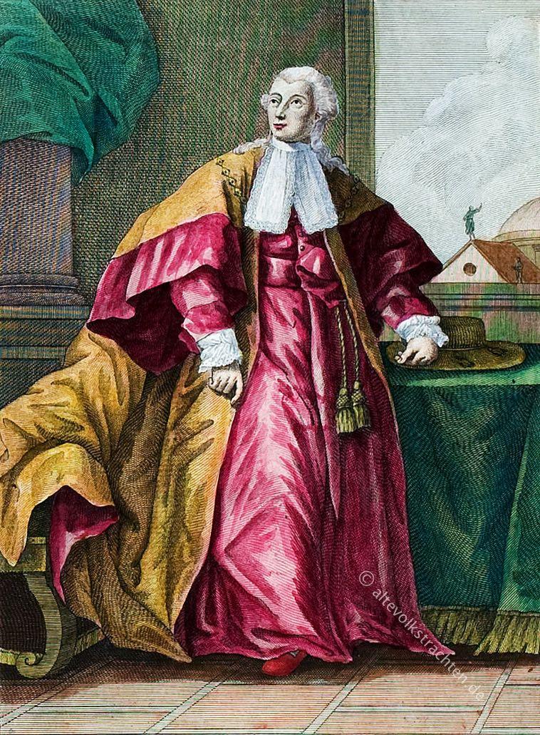 Römischer Senator in zeremonieller Kleidung. Senatore Romano in abito Solenne. Sénateur Romain en habit de Cérémonie.