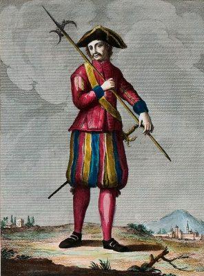 Kostüm, Tracht. Schweizer Soldat, der den Gesandten von Bologna bewacht. Leibwächter, Italien, 18. Jh.