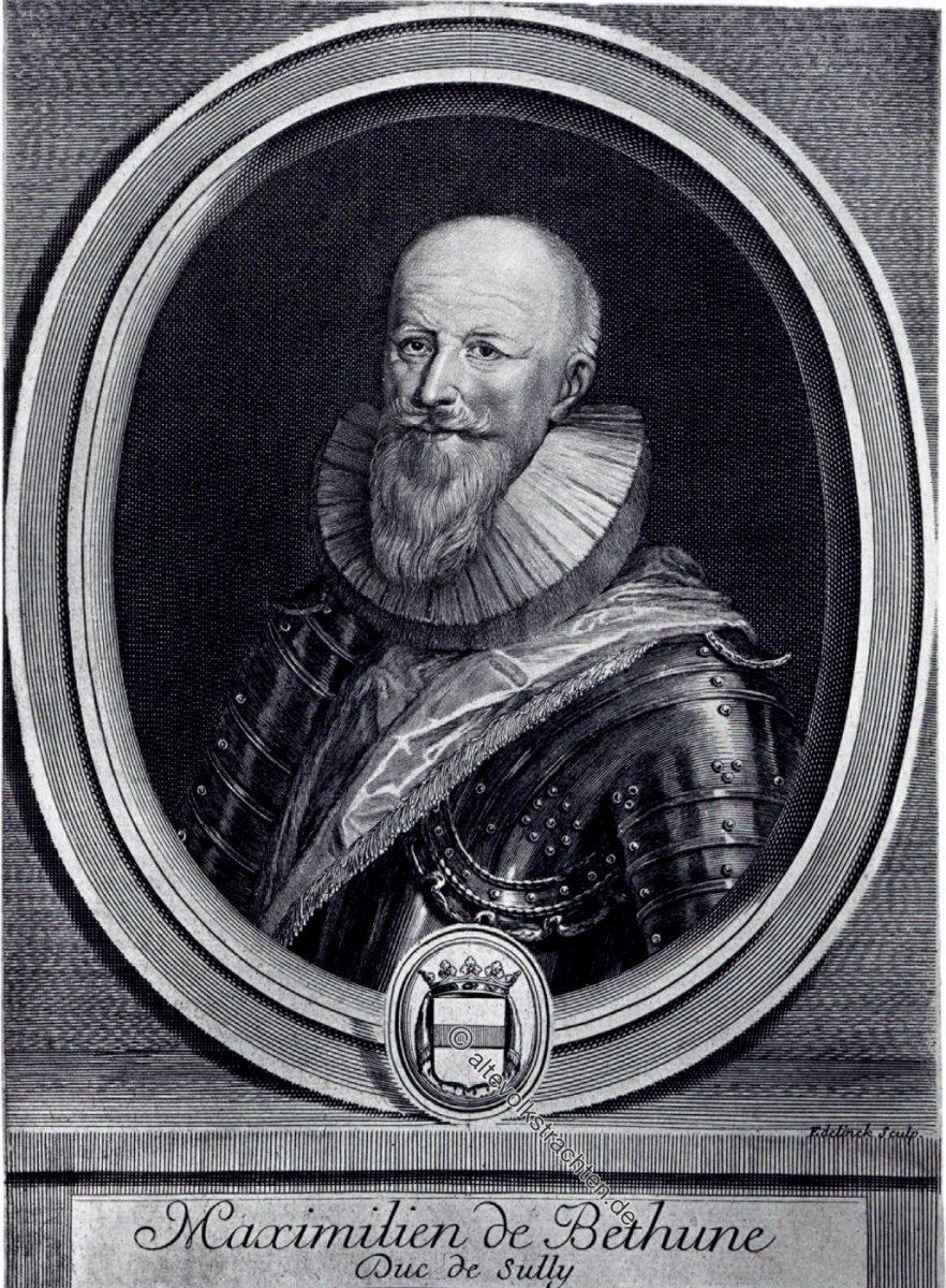 Maximilien de Béthune Herzog von Sully, französischer Staatsmann. Das Zeitalter des Dreissigjährigen Krieges (1600-1670). Kultur,- und Modegeschichte.