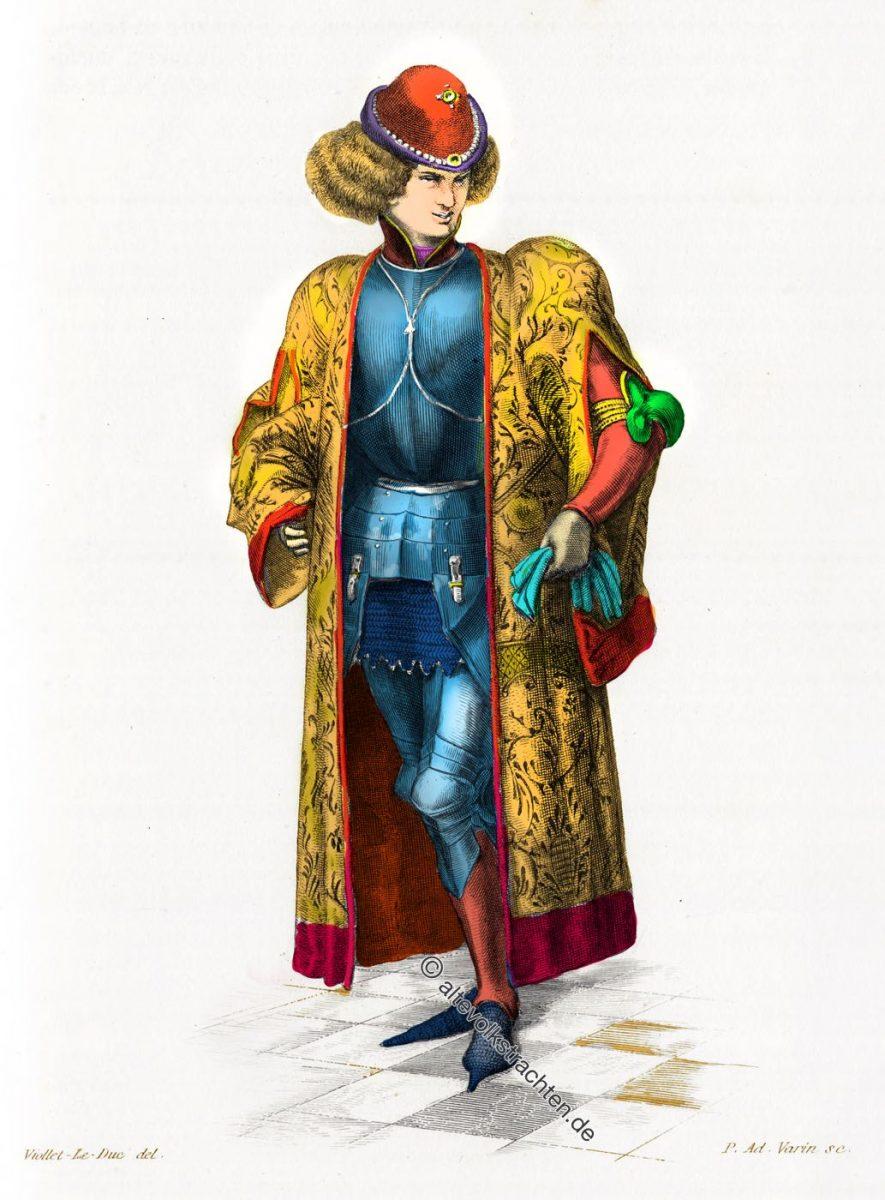 Houppelande, Tappert, Gewandung, Mittelalter, Gotik, Kostüme, Mantel, Viollet-Le-Duc