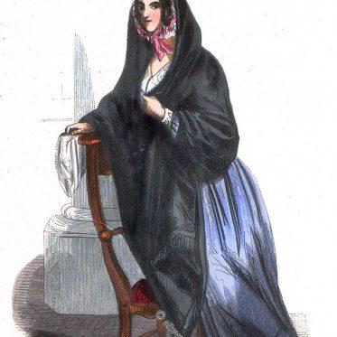 Kostüm einer Frau aus Brüssel, Belgien um 1840.