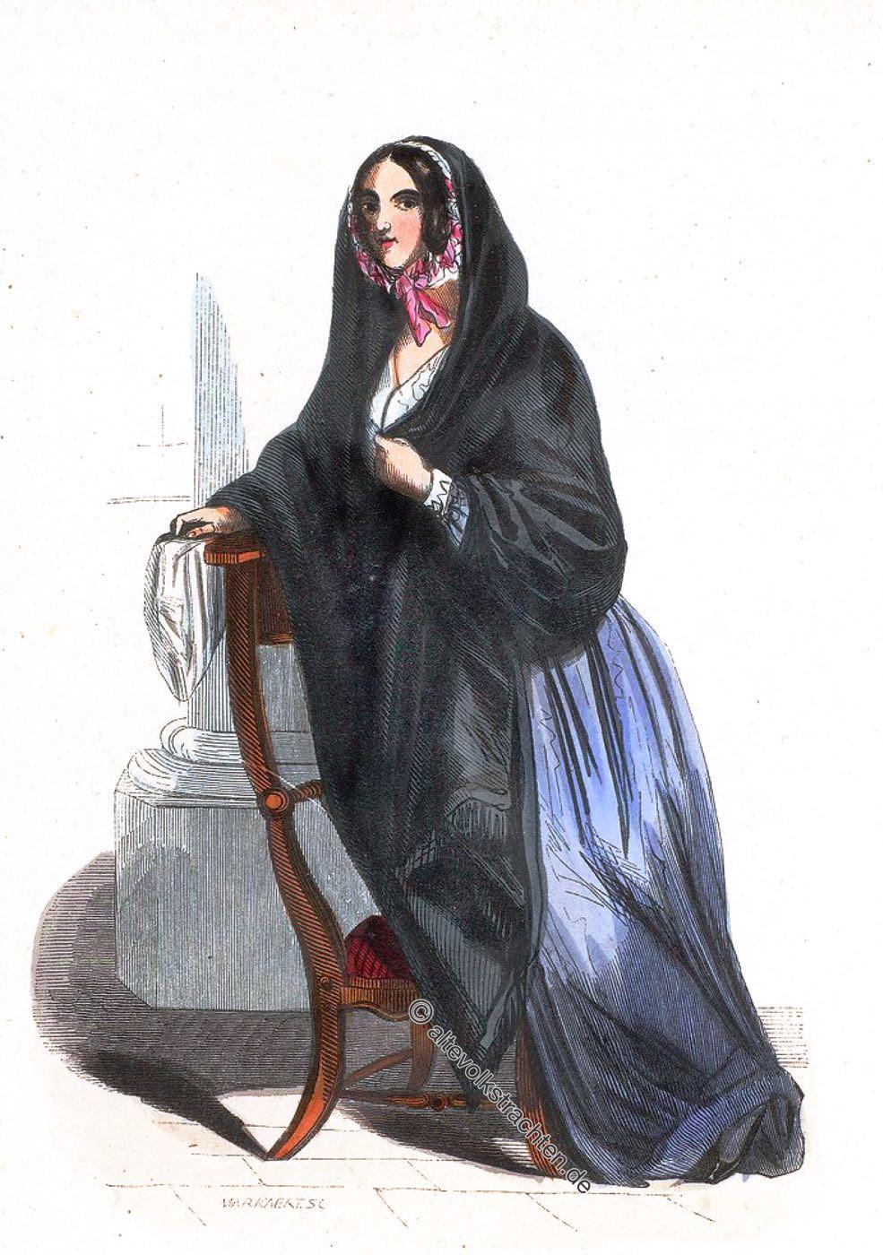 Auguste Wahlen, Kostüm, Tracht, Volkstrachten, Brüssel, Belgien, Bruxelles, Brussels, silk fabric, costume,