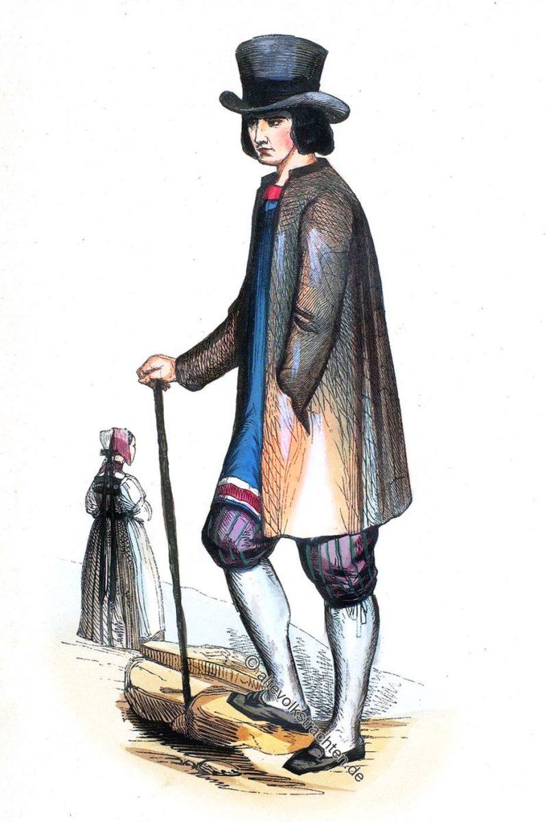 Homme et Femme de la Foret-Noire. Grand-duché de Baden. Trachten des Schwarzwaldes. Großherzogtum Baden.