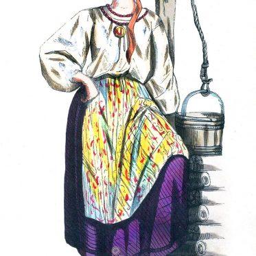 Frau in Tracht aus der Ukraine um 1840.