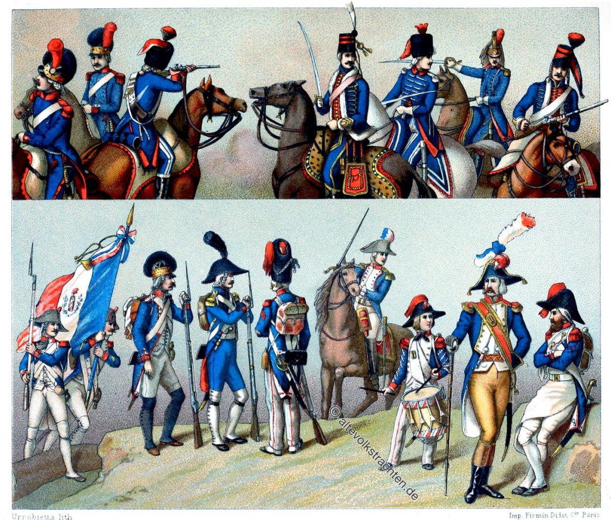 Frankreich Republik. Uniformen der regulären Truppen (1792 u. 1793). Französisches Militär. Auguste Racinet,.