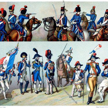 Frankreich. Uniformen der regulären Truppen (1792 - 1793).
