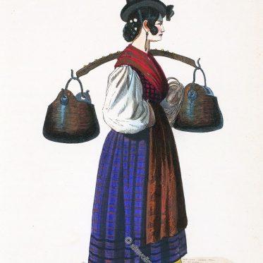 Venezianische Wasserträgerin um 1840.