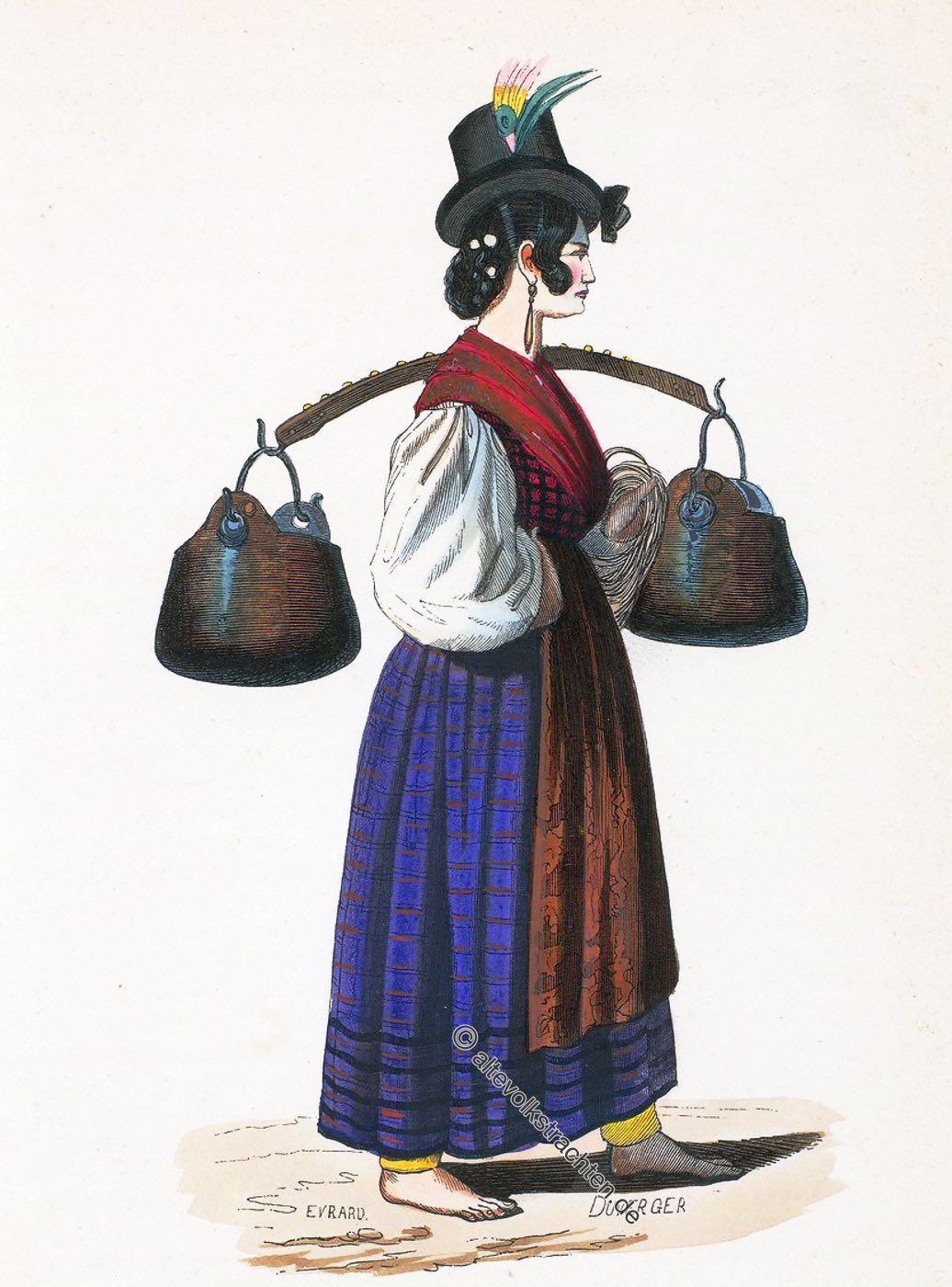 Costume, Kostüm, Wasserträgerin, Venedig, Italien, Tracht, Nationaltracht, Auguste Wahlen,