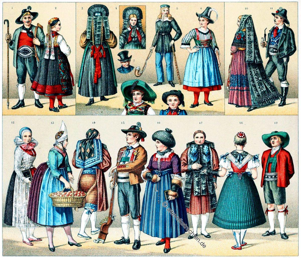 Auguste Racinet, Volkstrachten, Deutschland, Österreich, Tschechien, Tirol