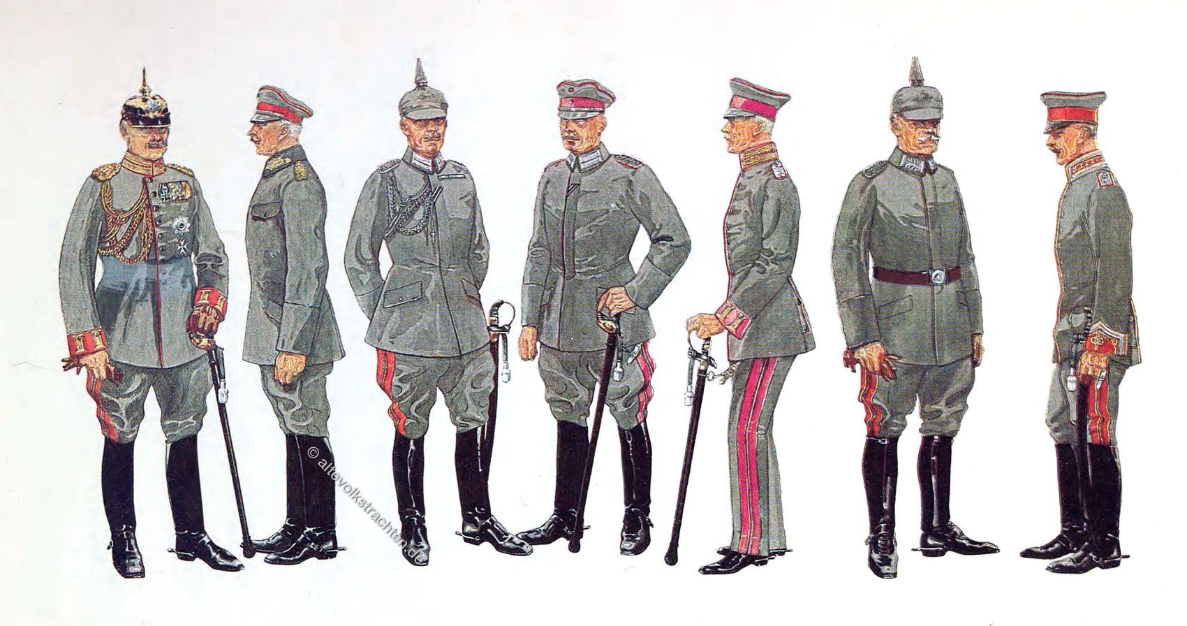 Uniformen, General-Adjutant, General der Infanterie, Flügel-Adjutant, Gr. Generalstab Major, Kriegsministerium Major, Militär-Kabinett Major, Persönlicher Adjutant der Prinzen