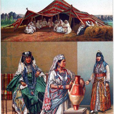 Afrika. Das arabische Zelt. Algerische Frauentrachten