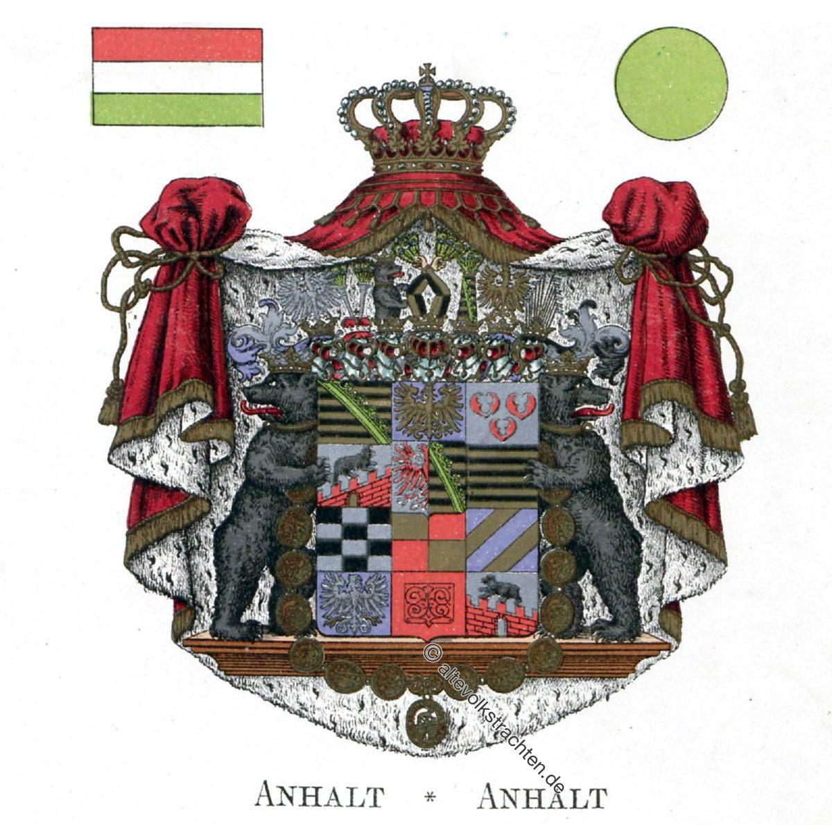 Anhalt, Staatswappen, Wappen, Heraldik, Deutschland, Landesflaggen, Cocarden, heraldry, héraldique, armoiries,