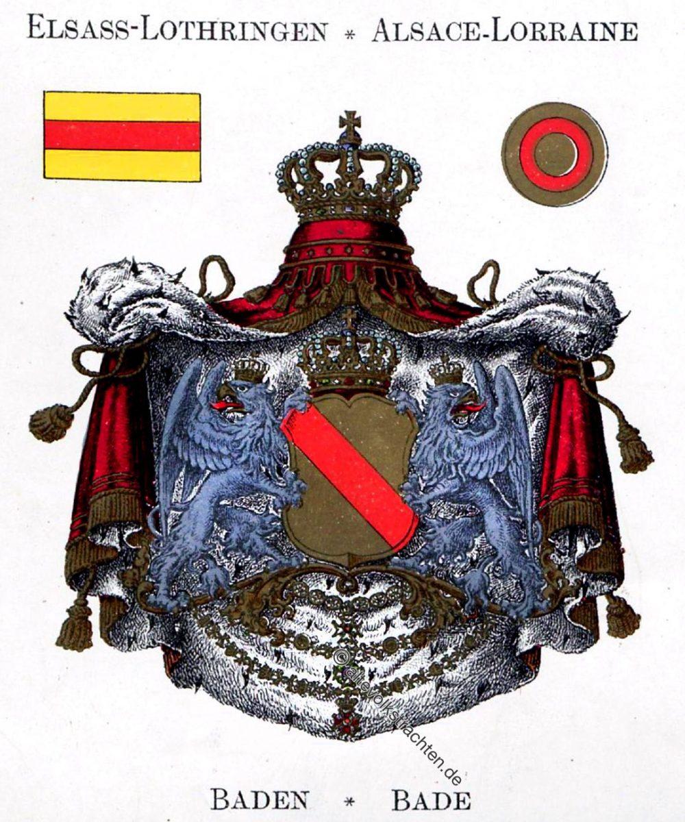 Baden, Bade, Elsass-Lothringen, Alsace-Lorraine, Staatswappen, Wappen, Heraldik, Deutschland, Landesflaggen, Cocarden, heraldry, héraldique, armoiries,
