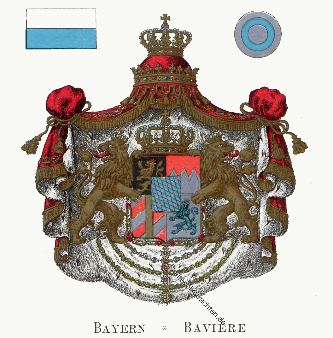 Bayern, Bavière, Staatswappen, Wappen, Heraldik, Deutschland, Landesflaggen, Cocarden, heraldry, héraldique, armoiries,
