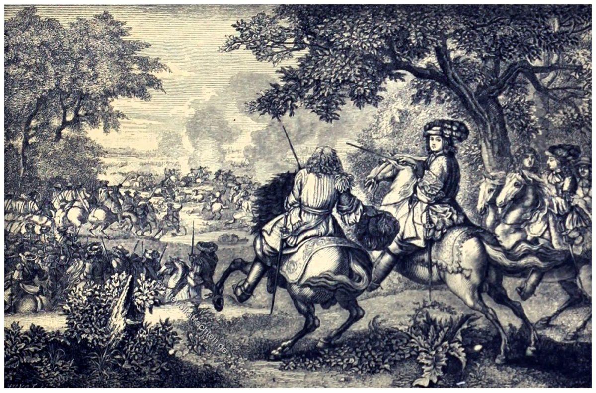 Devolutionskrieg, König, Ludwig XIV., Frankreich, Spanien, Niederlande, Schlacht, Armee, Soldaten, Barock