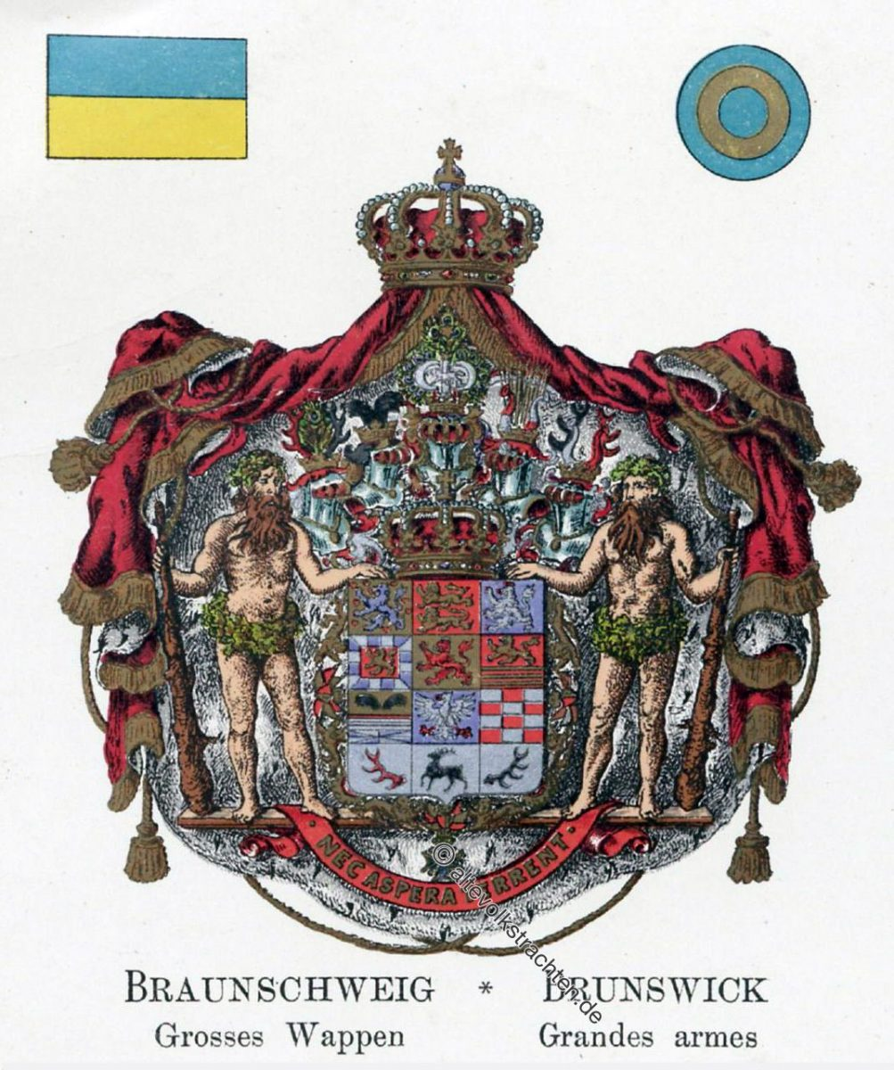 Braunschweig, Grosses Wappen, Staatswappen, Heraldik, Deutschland, Landesflaggen, Cocarden, heraldry, héraldique, armoiries,