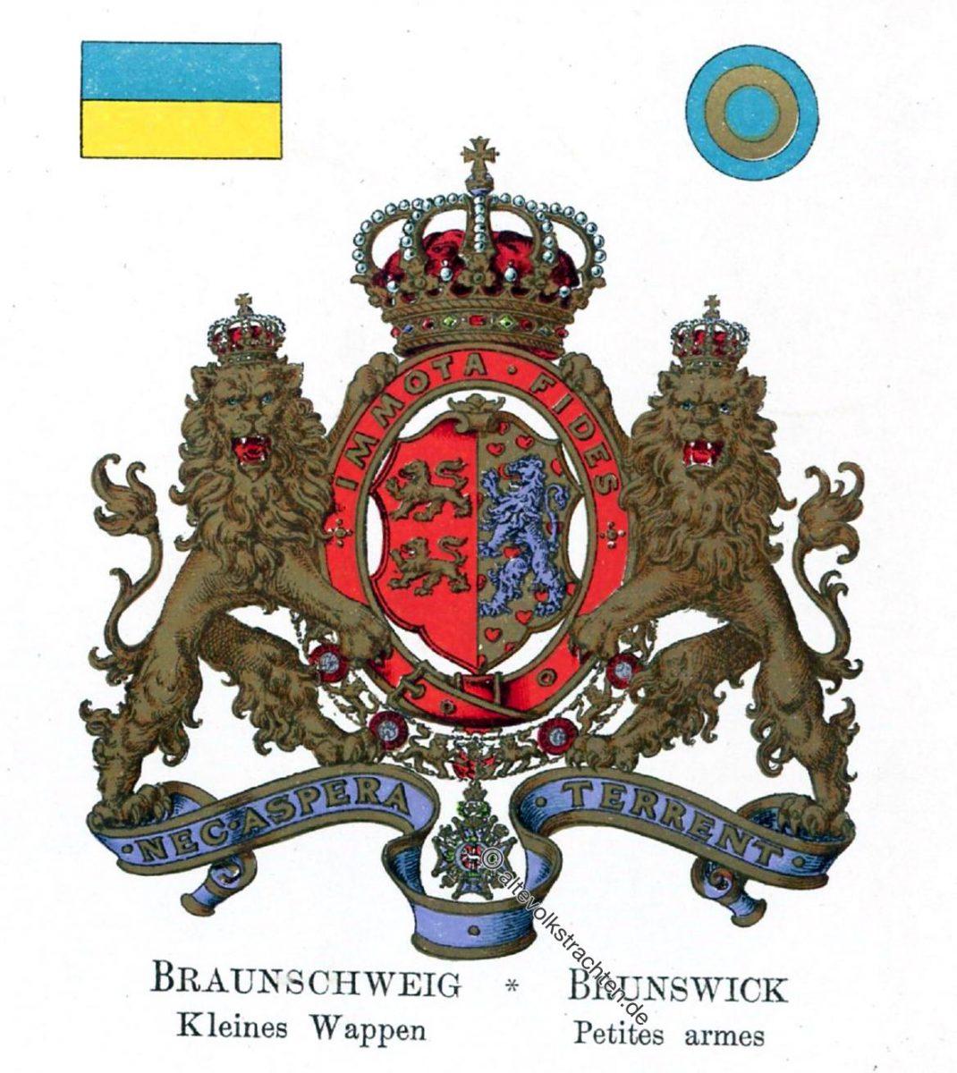 Braunschweig, Kleines Wappen, Staatswappen, Wappen, Heraldik, Deutschland, Landesflaggen, Cocarden, heraldry, héraldique, armoiries,