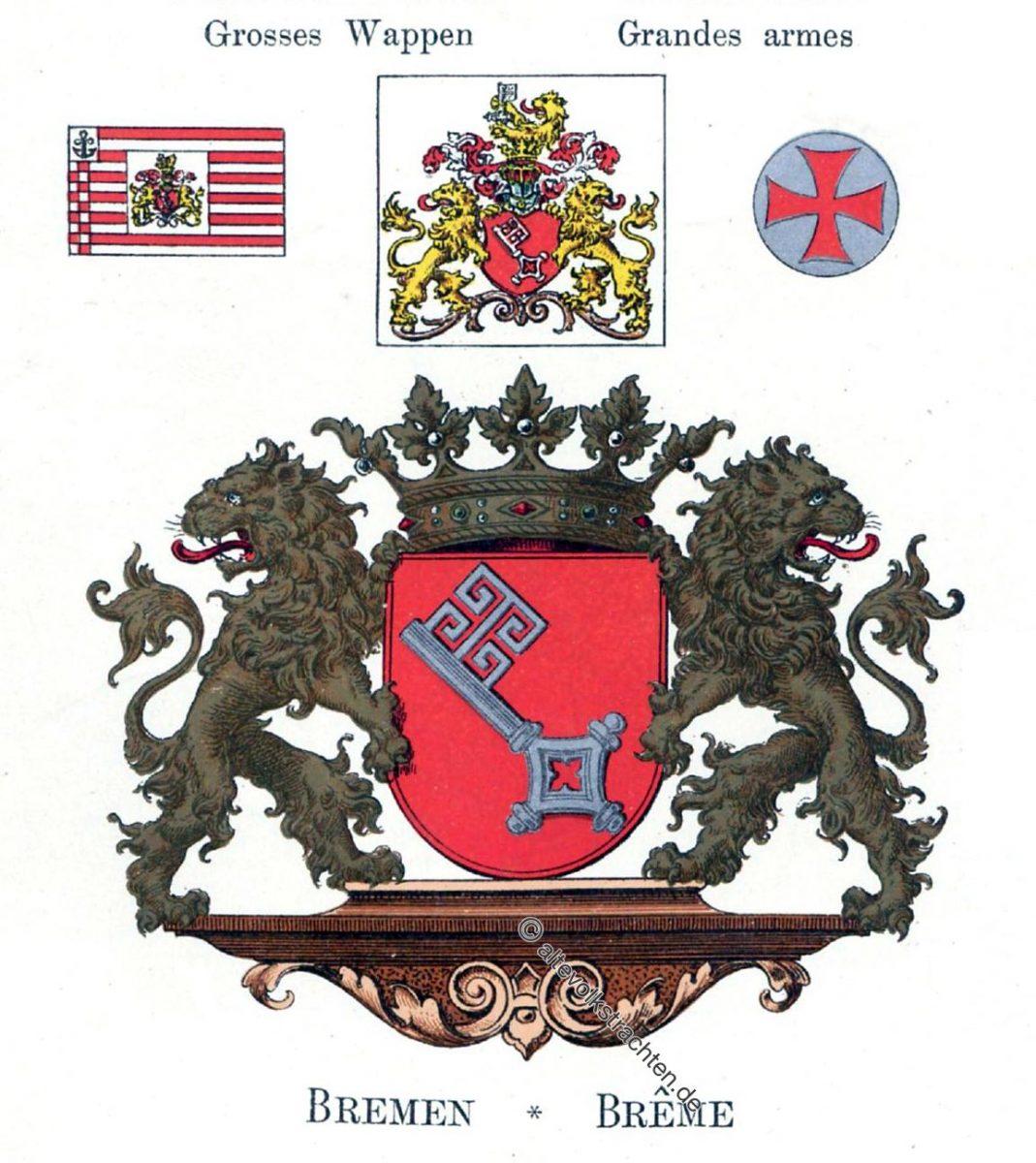 Bremen, Staatswappen, Wappen, Heraldik, Deutschland, Landesflaggen, Cocarden, heraldry, héraldique, armoiries,