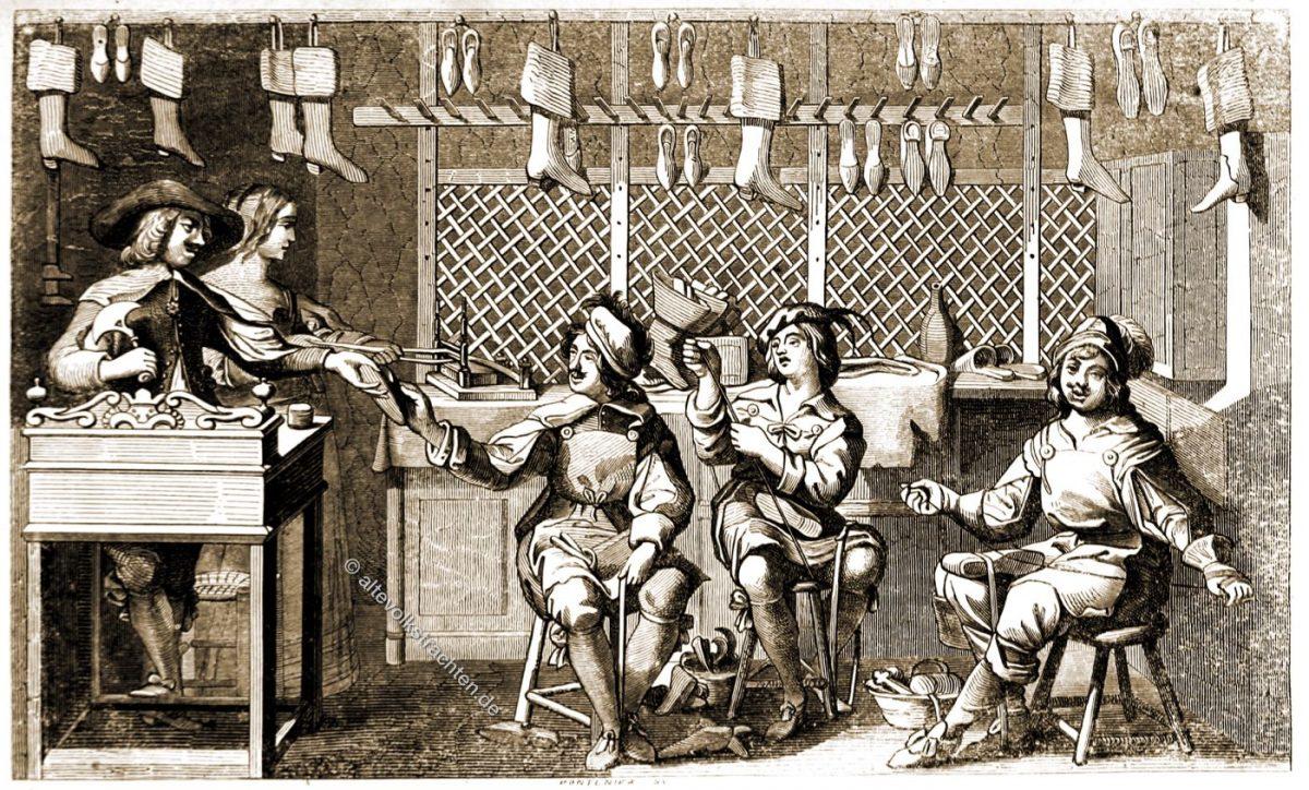 Intérieur du Magasin d'un Cordonnier sous Louis XIII. Le Cordonnier dans son Atelier. Professions et métiers. D'apres une gravure d'Abraham Bosse.