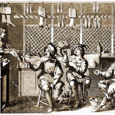 Innenansicht einer Schuhmacherei Anfang des 17. Jahrhunderts.