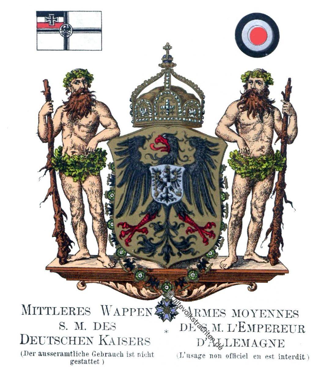 Mittleres Wappen, Deutschen Kaisers, Staatswappen, Wappen, Heraldik, Deutschland, Landesflaggen, Cocarden, heraldry, héraldique, armoiries,