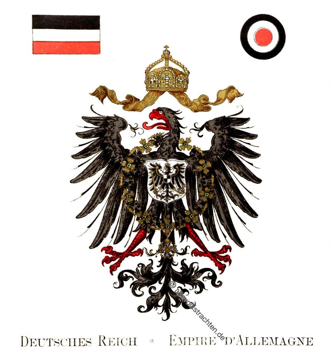 Deutsches Reich, Empire D'Allemand, Staatswappen, Wappen, Heraldik, Deutschland, Landesflaggen, Cocarden, heraldry, héraldique, armoiries,
