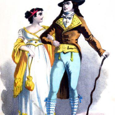 Eine Dame und ein Galant. Frankreich 1795.