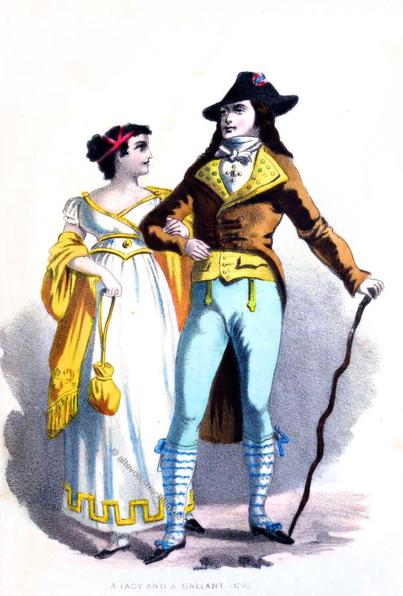 Merveilleuse und Incroyable. Französische Mode des Directoire 1795.