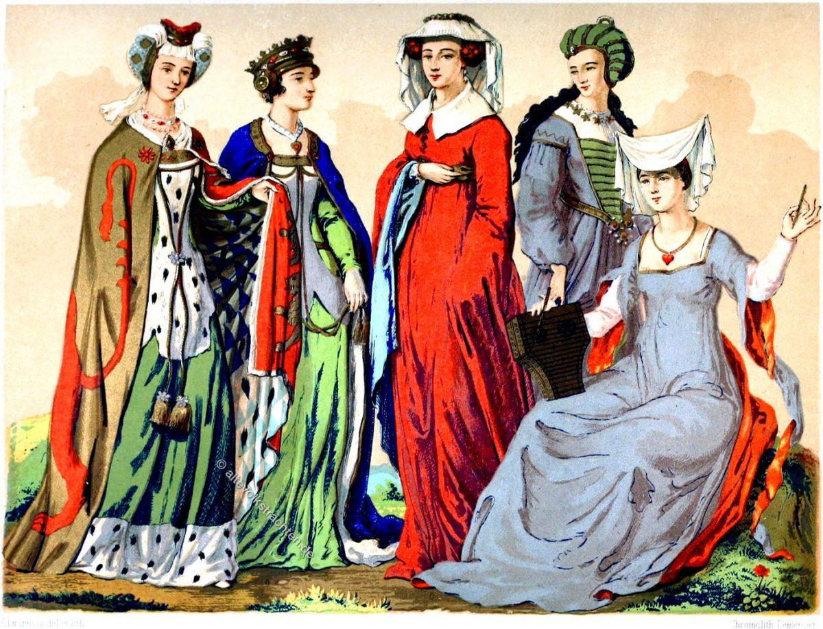 Englische Edeldamen des 15. und 16. Jahrhunderts. Das Mittelalter und die Renaissance. Mode & Kostüme.