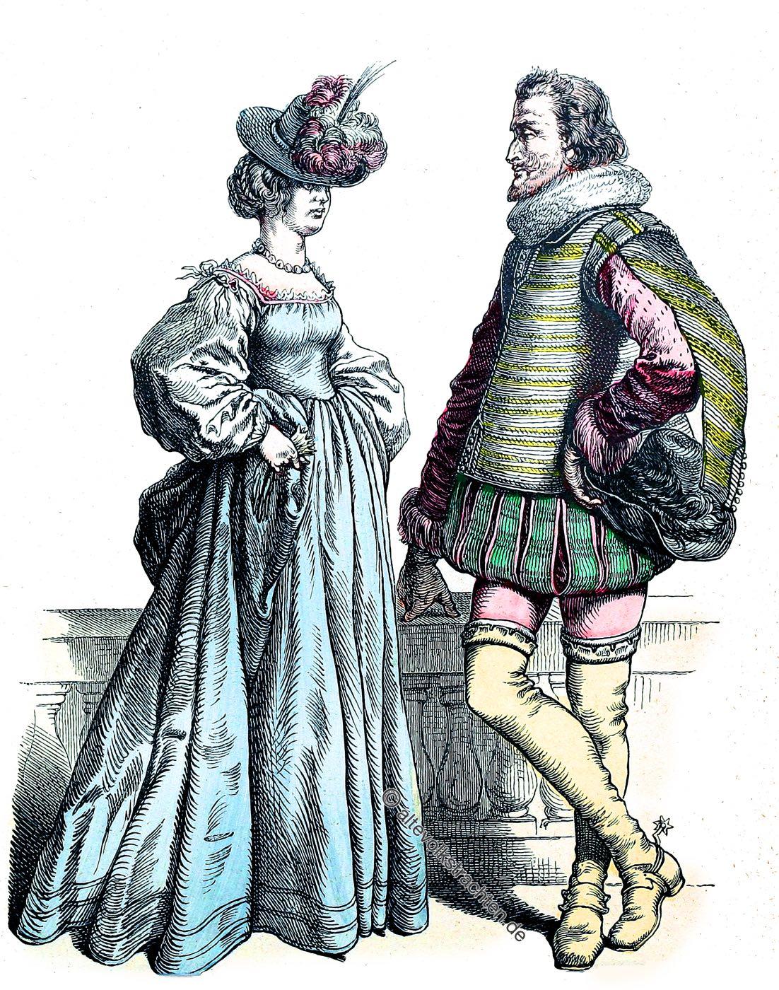 Münchener Bilderbogen, Deutsche Edelleute, Barock, Deutschland, 17. Jahrhundert, Mode, Kostüme, Kostümgeschichte
