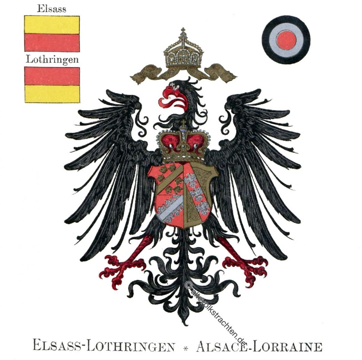 Elsass-Lothringen, Alsace-Lorraine, Staatswappen, Wappen, Heraldik, Deutschland, Landesflaggen, Cocarden, heraldry, héraldique, armoiries,