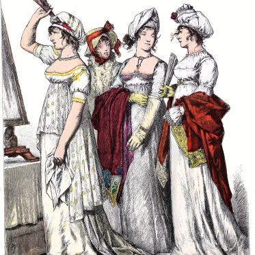 Deutsche und französische Mode des Empire 1802.
