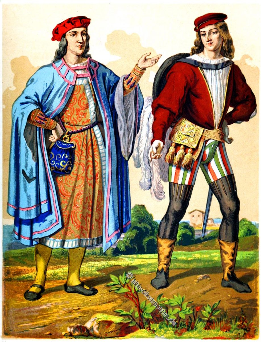 Das Mittelalter und die Renaissance. Mode & Kostüme. England 15. Jahrhundert. Höfling und Ehrenmann.