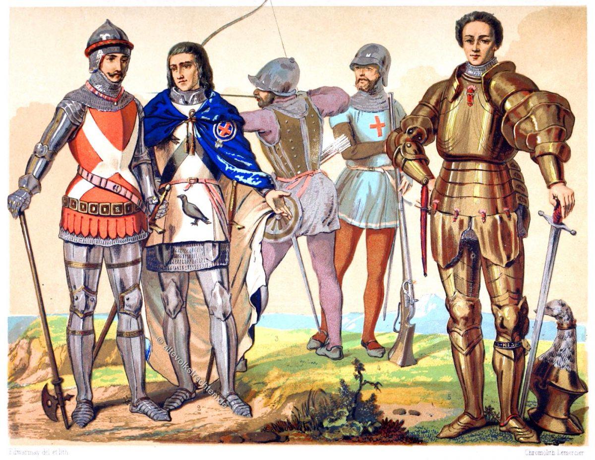Englische Kriegstrachten des 15. und 16. Jahrhunderts. Das Mittelalter und die Renaissance. Mode & Kostüme.