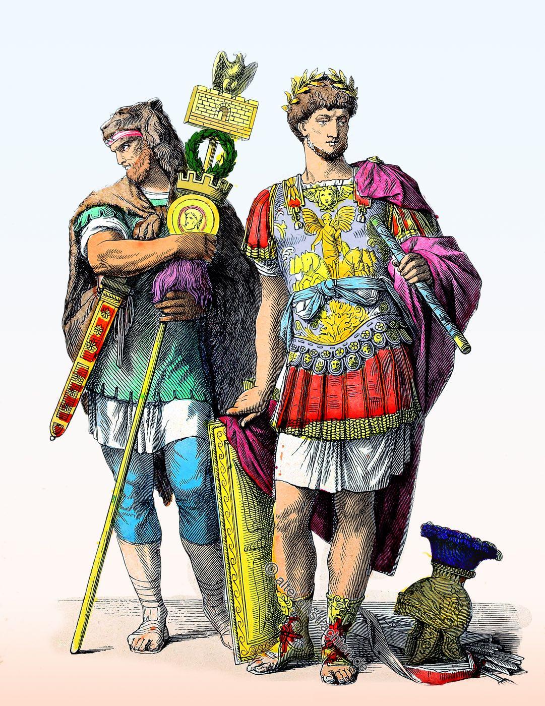 Münchener Bilderbogen, Legionär, Römischer Feldherr, Insignienträger, Germane, Kostüme, Rom, Antike, Soldat,