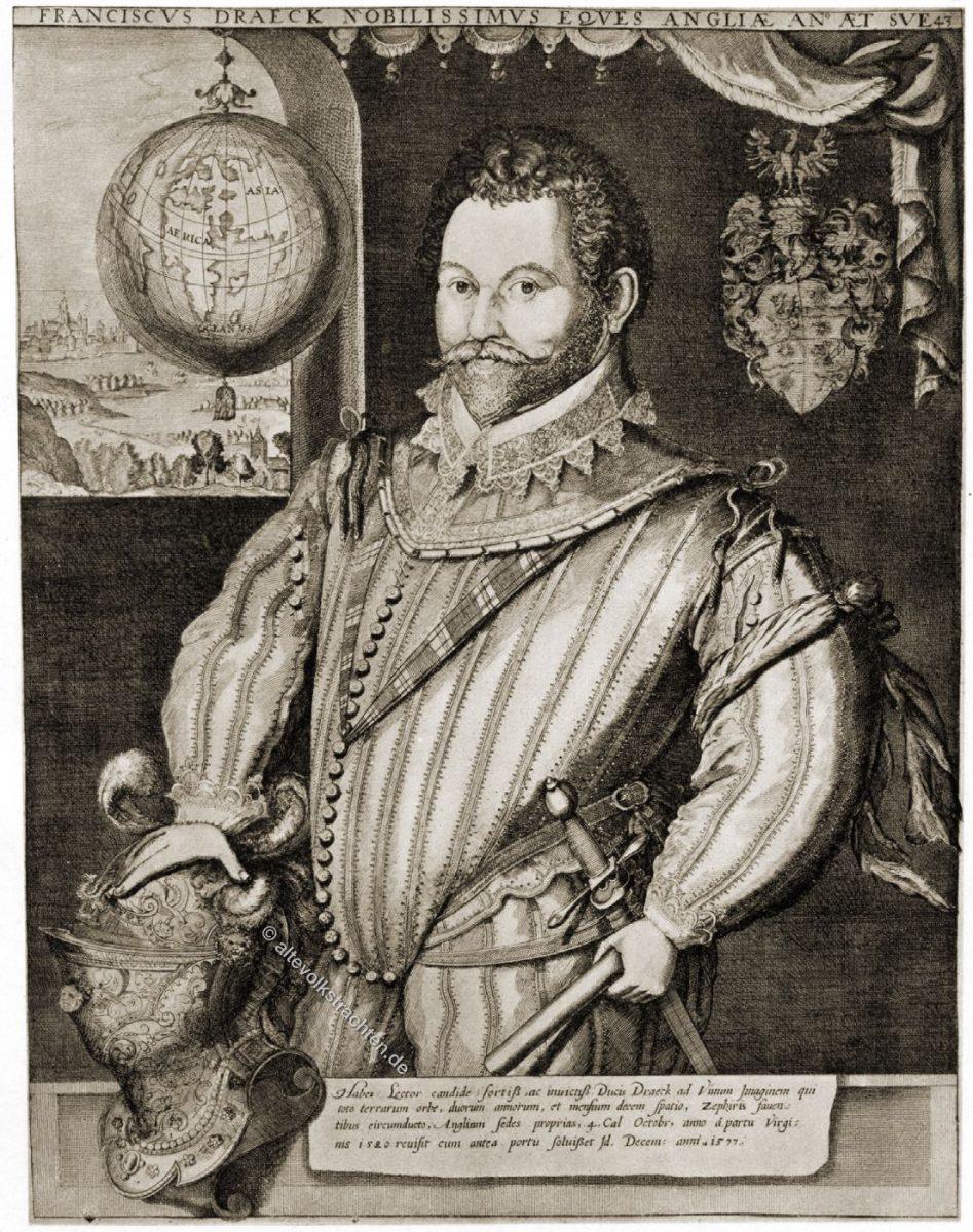 Sir Francis Drake war ein englischer Seekapitän, Freibeuter, Sklavenhändler, Marineoffizier und Entdecker der elisabethanischen Zeit.