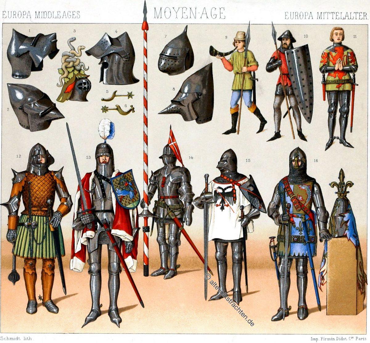 Frankreich im Mittelalter. Kriegsrüstungen von 1350 bis etwa 1450. Lederpanzer, Beckenhelme, Eisenhüte. Ritter und deren Bewaffnung.