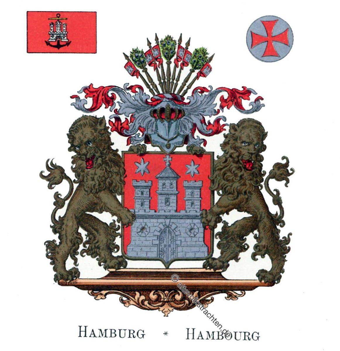 Hamburg, Staatswappen, Wappen, Heraldik, Deutschland, Landesflaggen, Cocarden, heraldry, héraldique, armoiries,