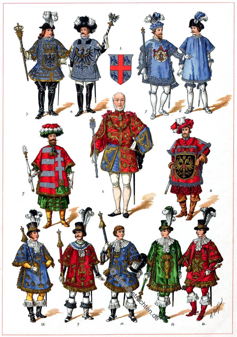 Herolde, Heralds, Wappen, Heraldik, Heroldswesen, Trachten, Mittelalter, Kostüme, Bekleidung, Tappert