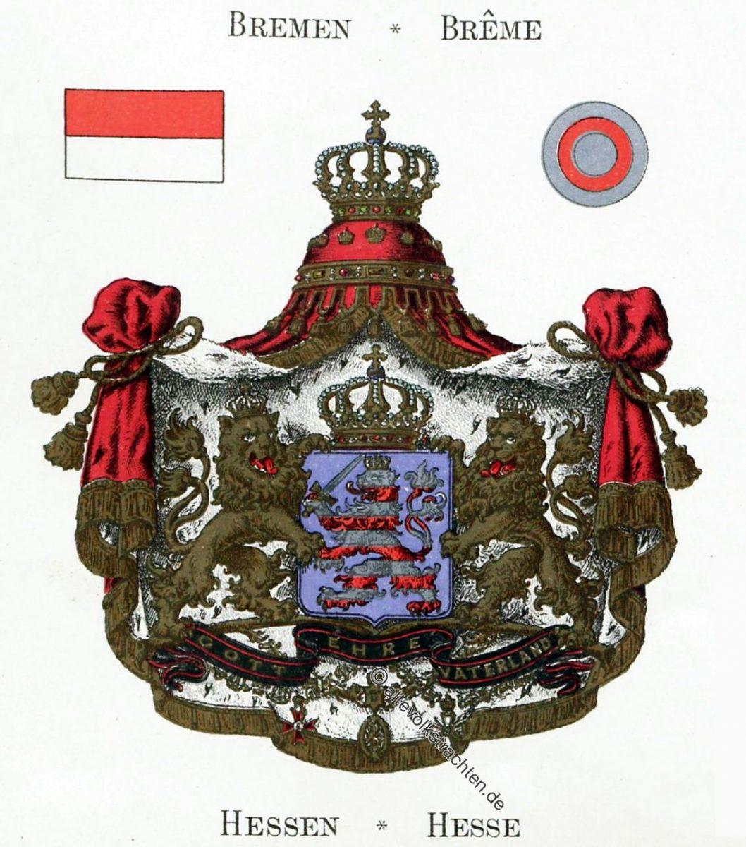 Hessen, Staatswappen, Wappen, Heraldik, Deutschland, Landesflaggen, Cocarden, heraldry, héraldique, armoiries,